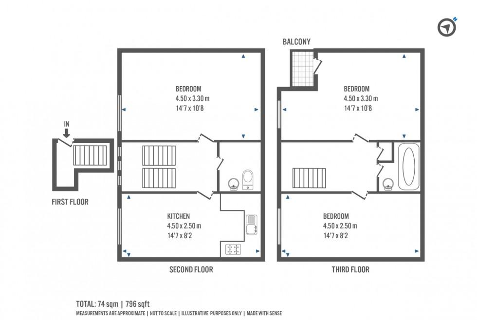 Floorplan for Sussex Way, London