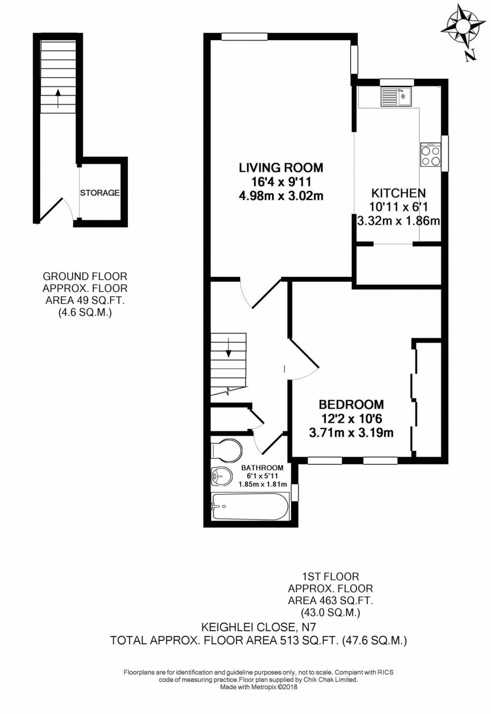 Floorplan for Keighley Close, London