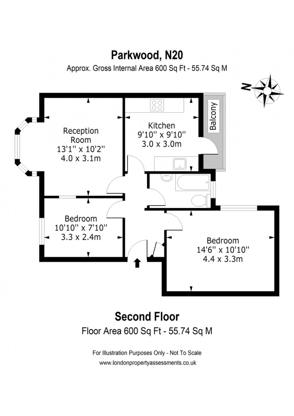 Floorplan for Parkwood, Friern Barnet, London