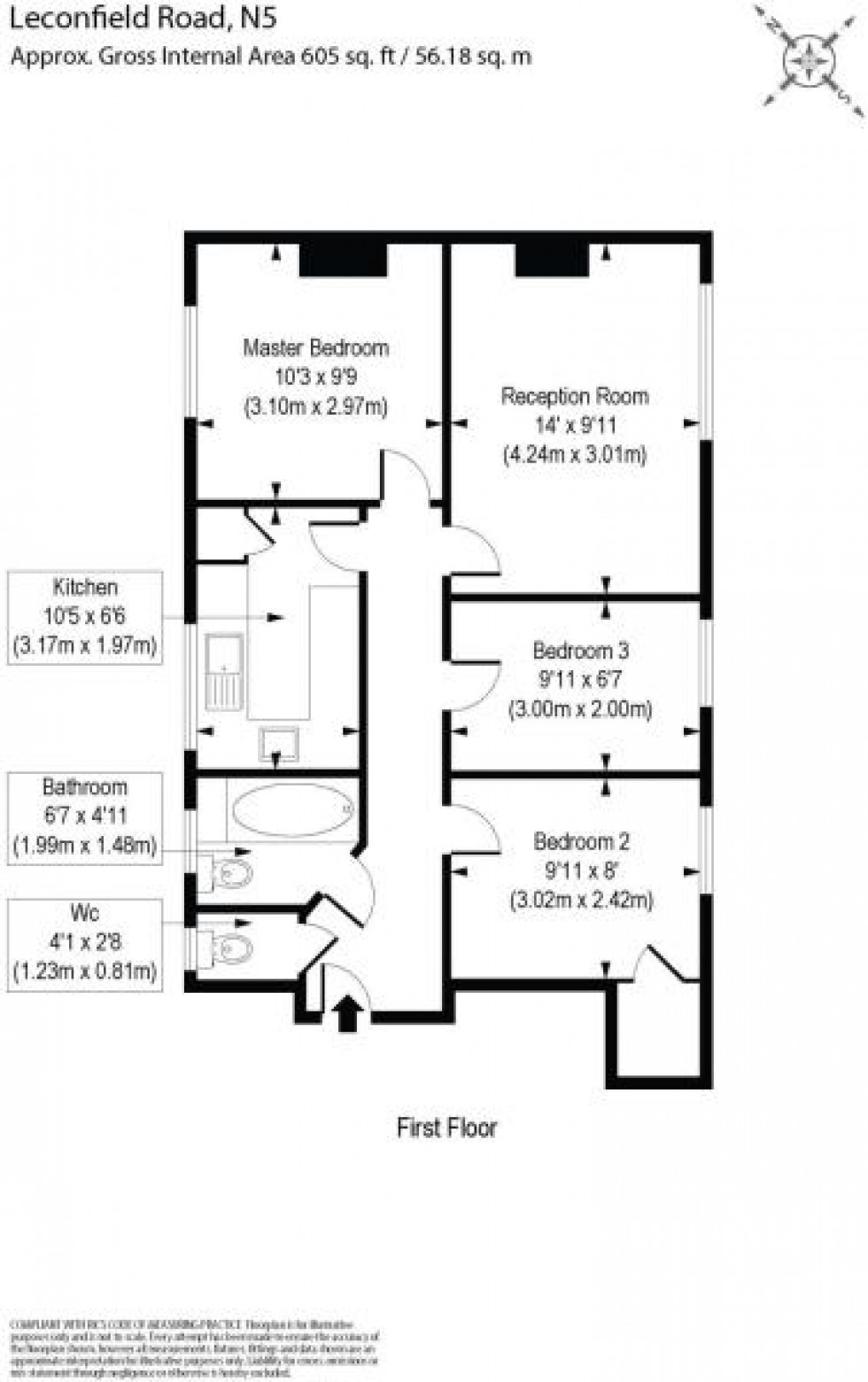 Floorplan for Leconfield Road, London