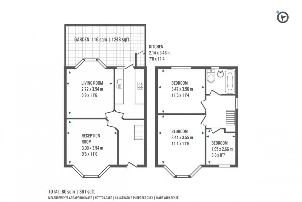 Floorplan for Warren Crescent, London